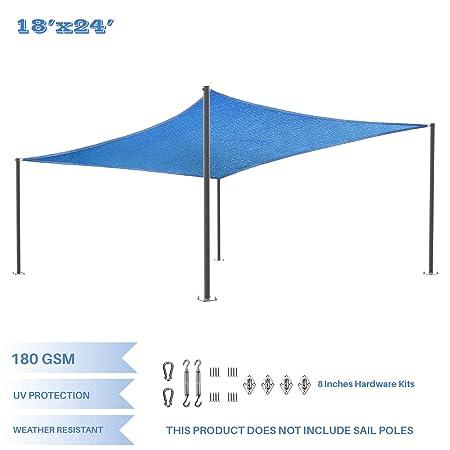 E K Sunrise 18 x 24 Blue Rectangle Sun Shade Sail with Stainless Steel Hardware Kit Outdoor Shade Cloth UV Block Fabric,Curve Edge-Customized