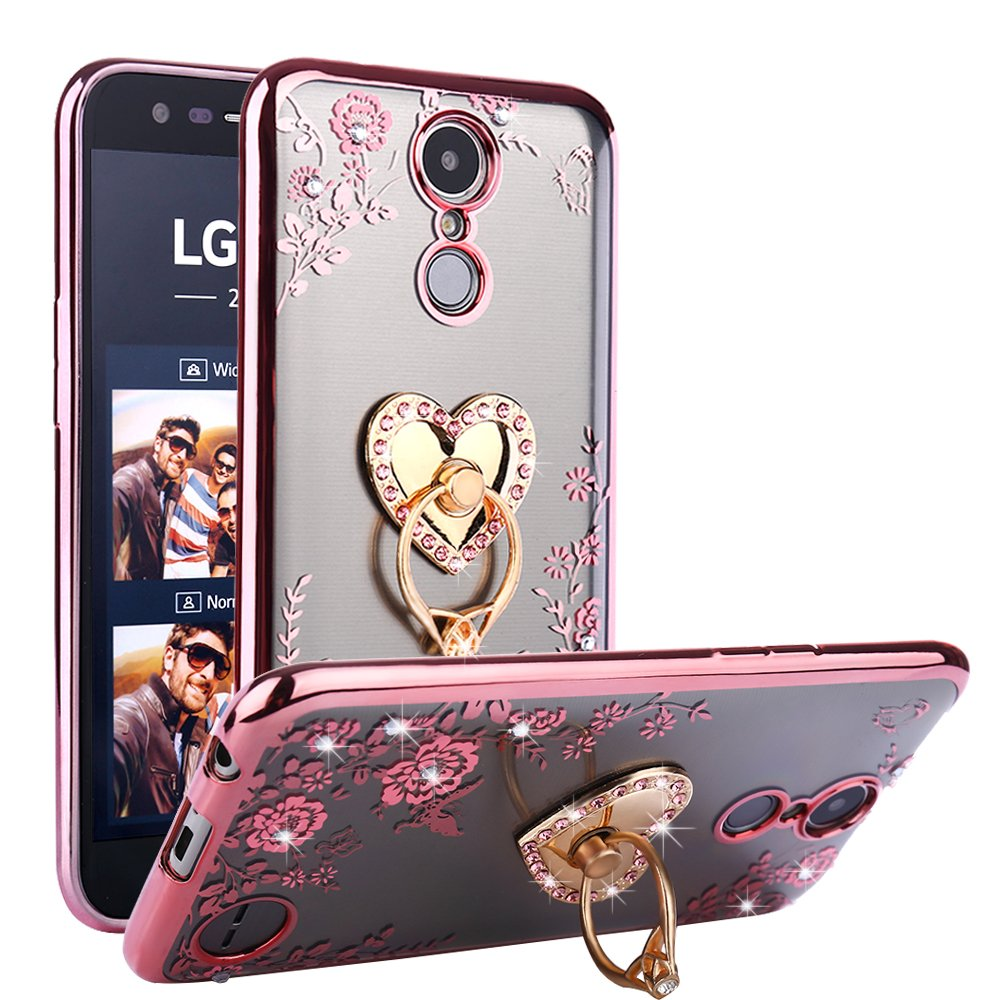 CaseHaven LG K20 Plus Case, Glitter Crystal Heart Floral Series - Slim Luxury Bling Rhinestone Clear TPU Case with Ring Stand for LG K20 V/LG K10 2017 / LG Harmony/LG Grace - Rose Gold