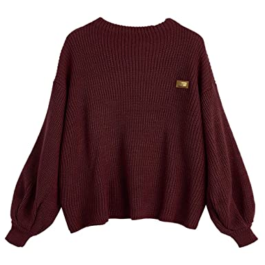 ZAFUL Women s Loose Jumper Sweater Oversized Patched Lantern Sleeve Pullover  Sweatshirts Dark Red 89c5e6085