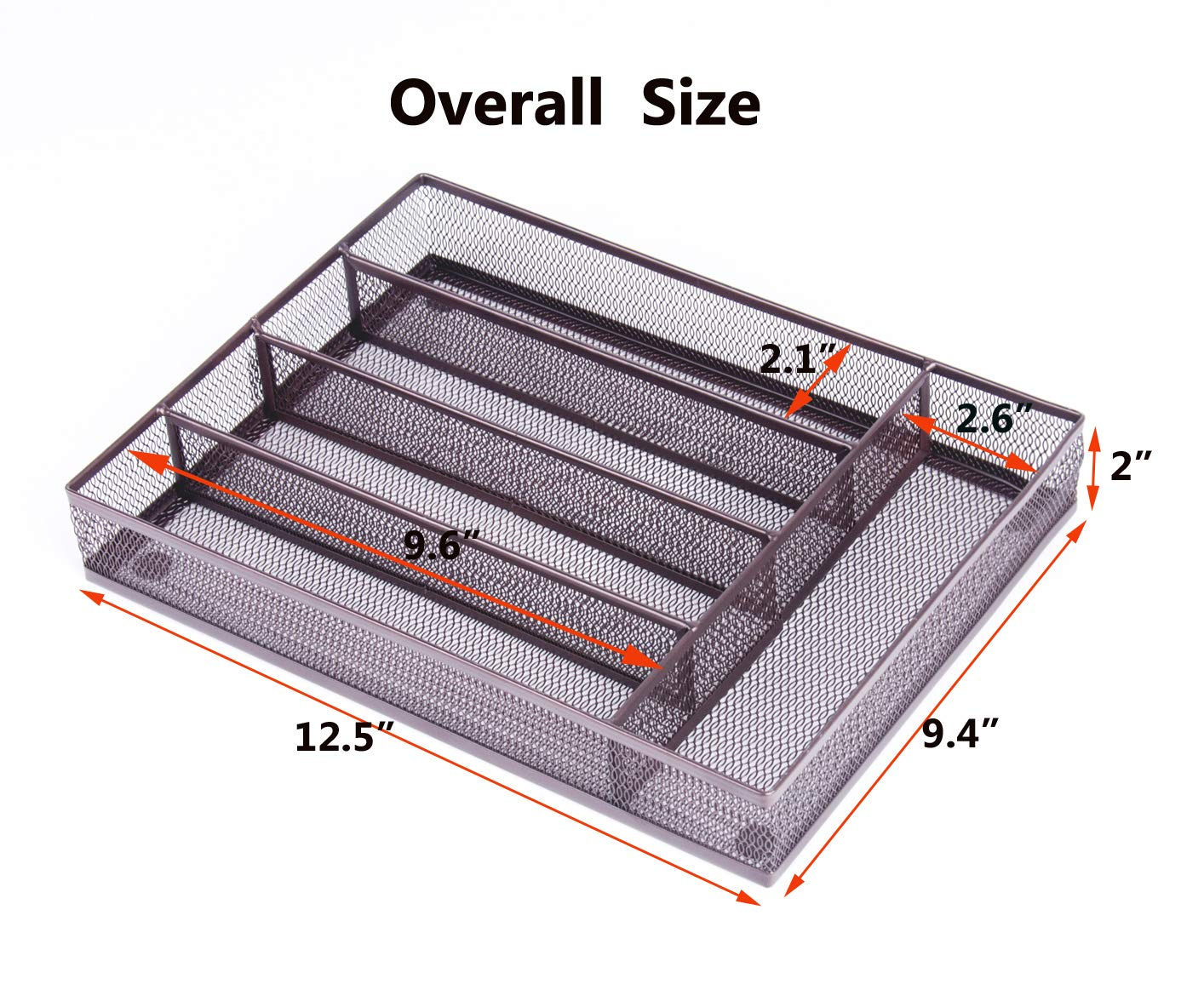 QZDJG Flatware Tray Utensil Drawer Organizer Kitchen Utensil Cutlery Tray Mesh Designing with Foam Feet Multi Compartments Keep Desk Drawer and Office Supplies Well Organized (Brown)