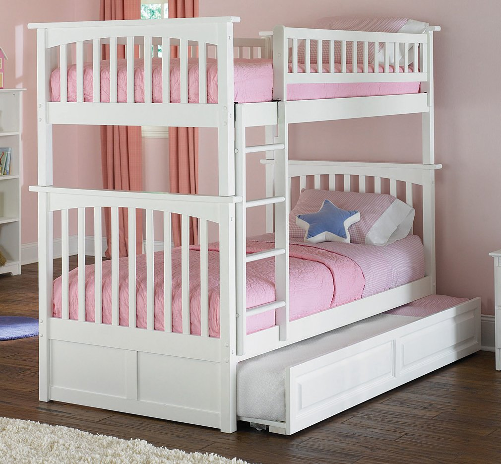 Twin trundle bed white - Amazon Com Columbia Bunk Bed With Trundle Bed Twin Over Twin White Kitchen Dining