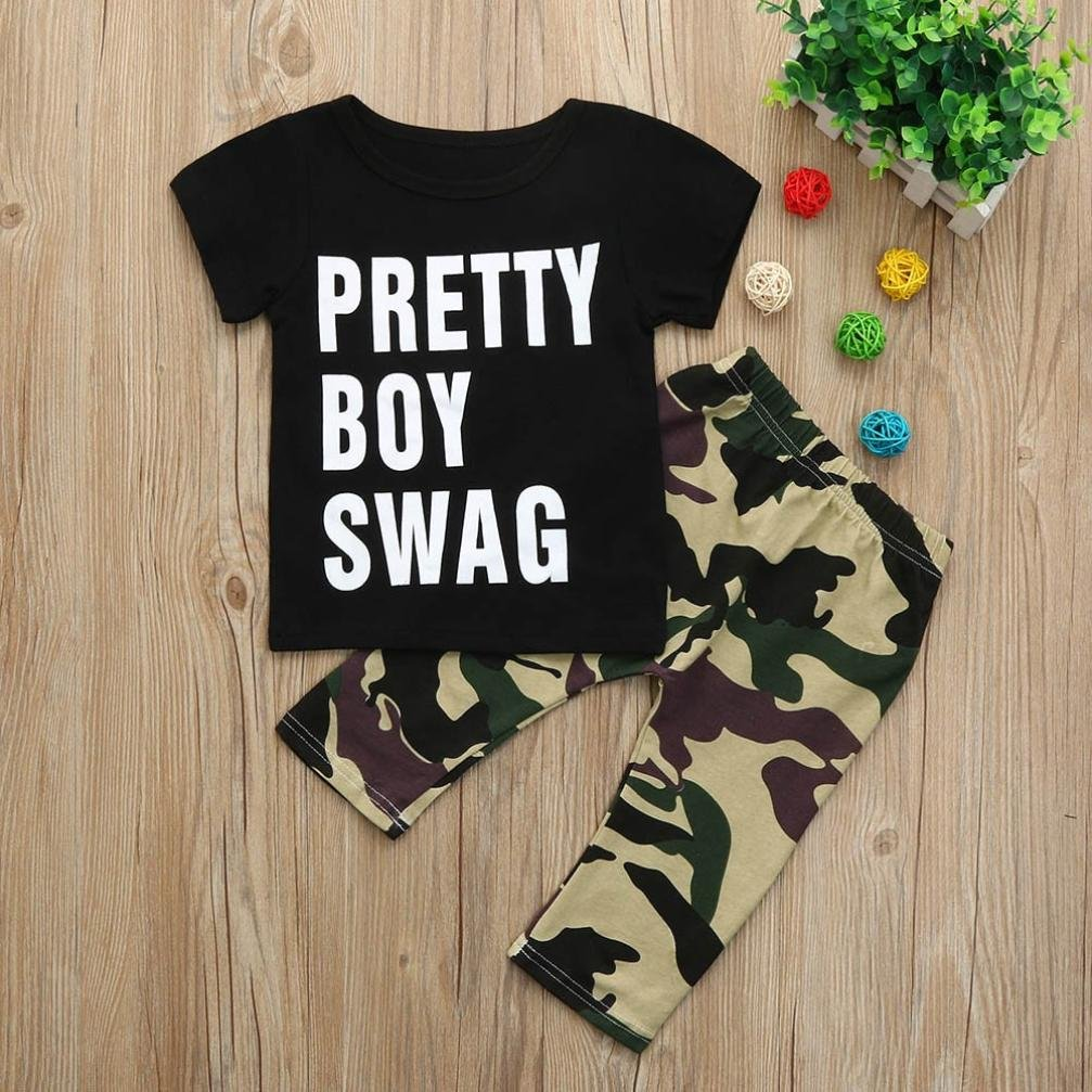 DIGOOD for 0-24 Months,Toddler Baby Boys Letter T-Shirt Tops+Camouflage Pants,2Pcs Fashion Outfits Clothes Sets