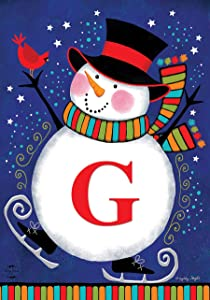 """Briarwood Lane Winter Snowman Monogram Letter G Garden Flag 12.5"""" x 18"""""""