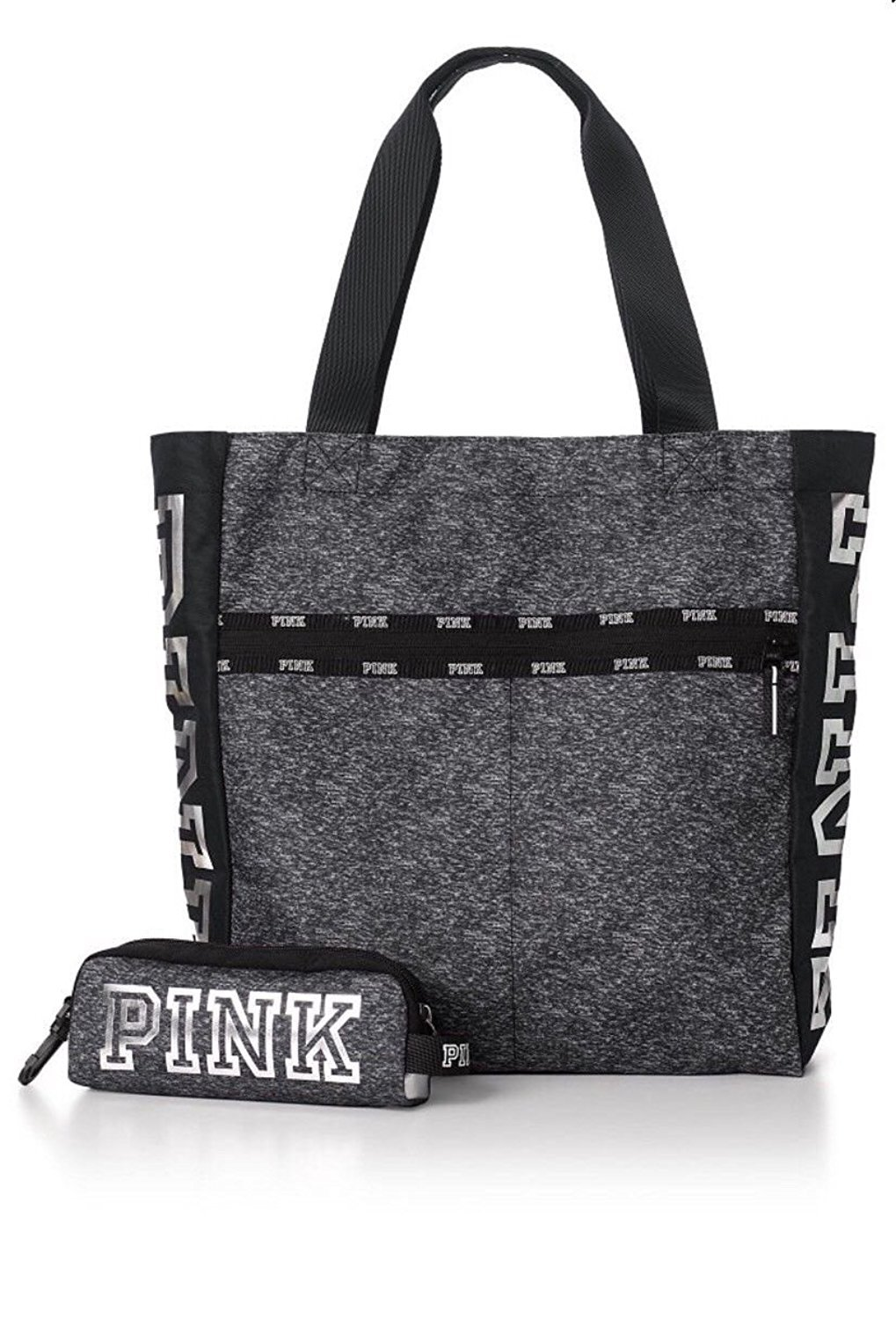 Victoria's Secret PINK Clay Grey Marl & Black Zip Tote Bag and Matching Tech Pouch with Silver Logo
