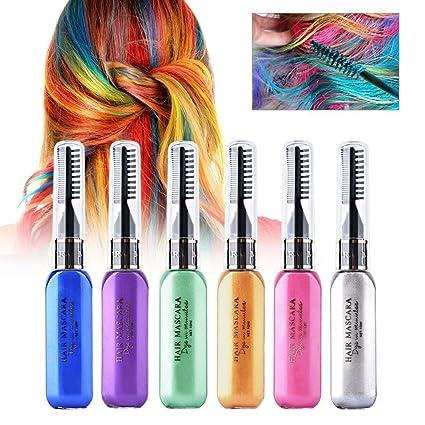 KAIMENG 6 colores tinte temporal para colorear - Máscara de tinte para el cabello coloreada -