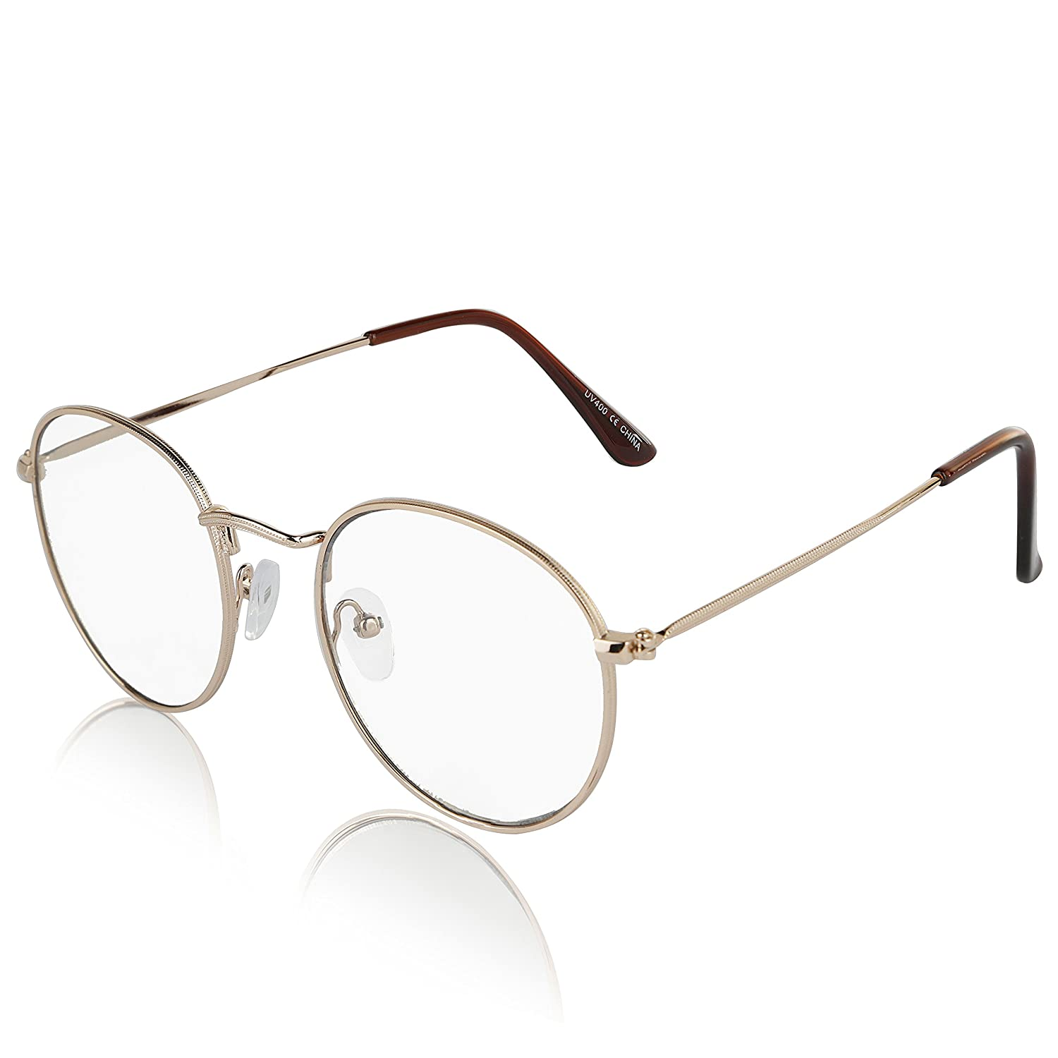 ae0f644cdbf Amazon.com  Non Prescription Retro Fake Clear Lens Gold Metal Frame  Eyeglasses Woman UV400  Clothing