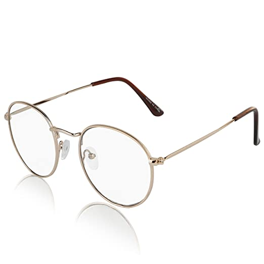 c61b256d35 Non Prescription Retro Fake Clear Lens Gold Metal Frame Eyeglasses Woman  UV400