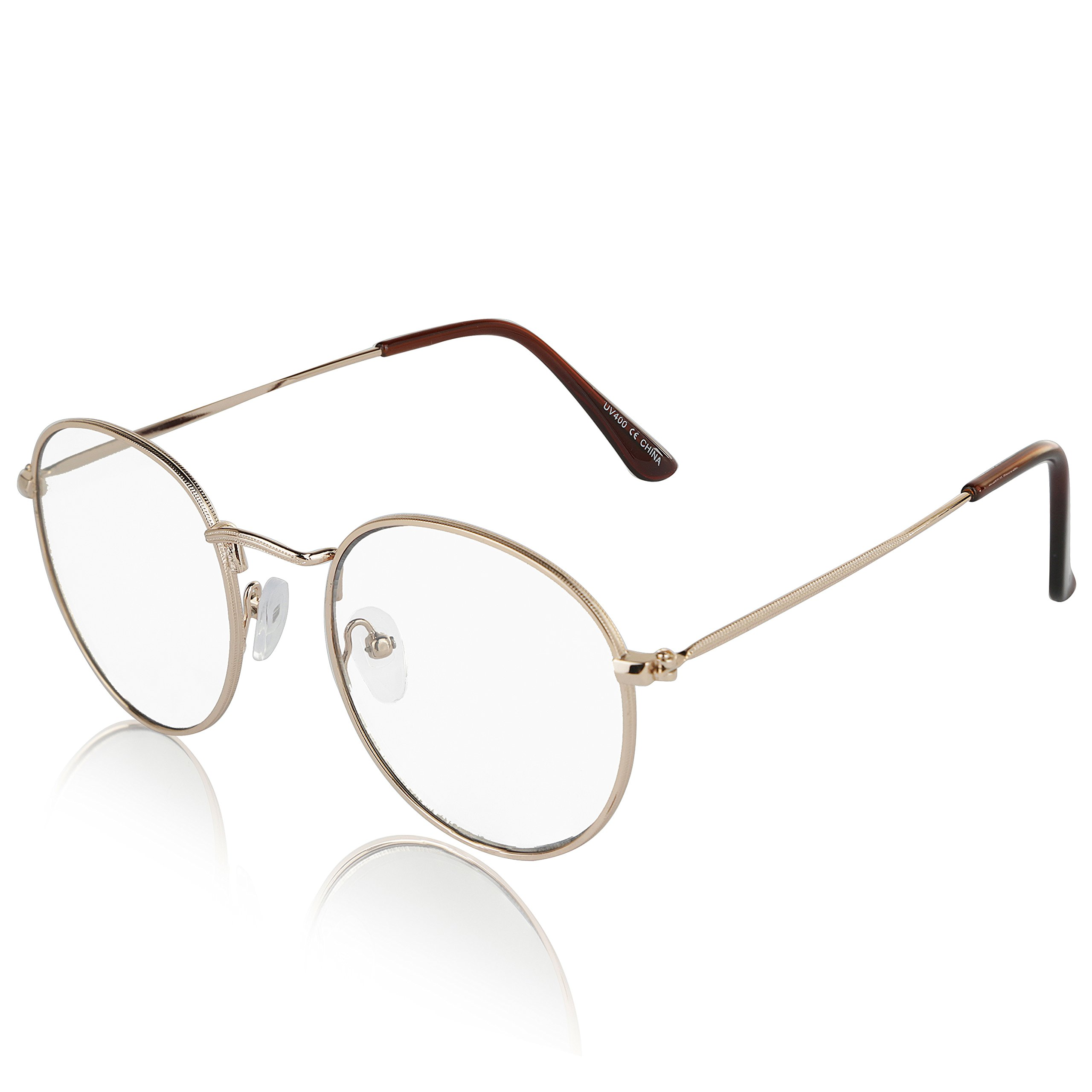 12bf1645aa6 Details about Non Prescription Retro Fake Clear Lens Gold Metal Frame  Eyeglasses Woman UV400