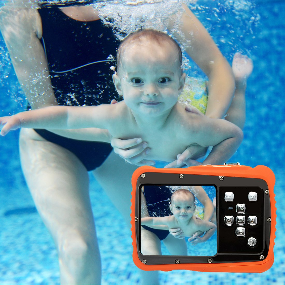 Underwater Action Digital Camera Camcorder for Kids, waterproof 3M/9.8ft, 5 MP CMOS 12MP 1080p, Orange by Oikkei (Image #5)