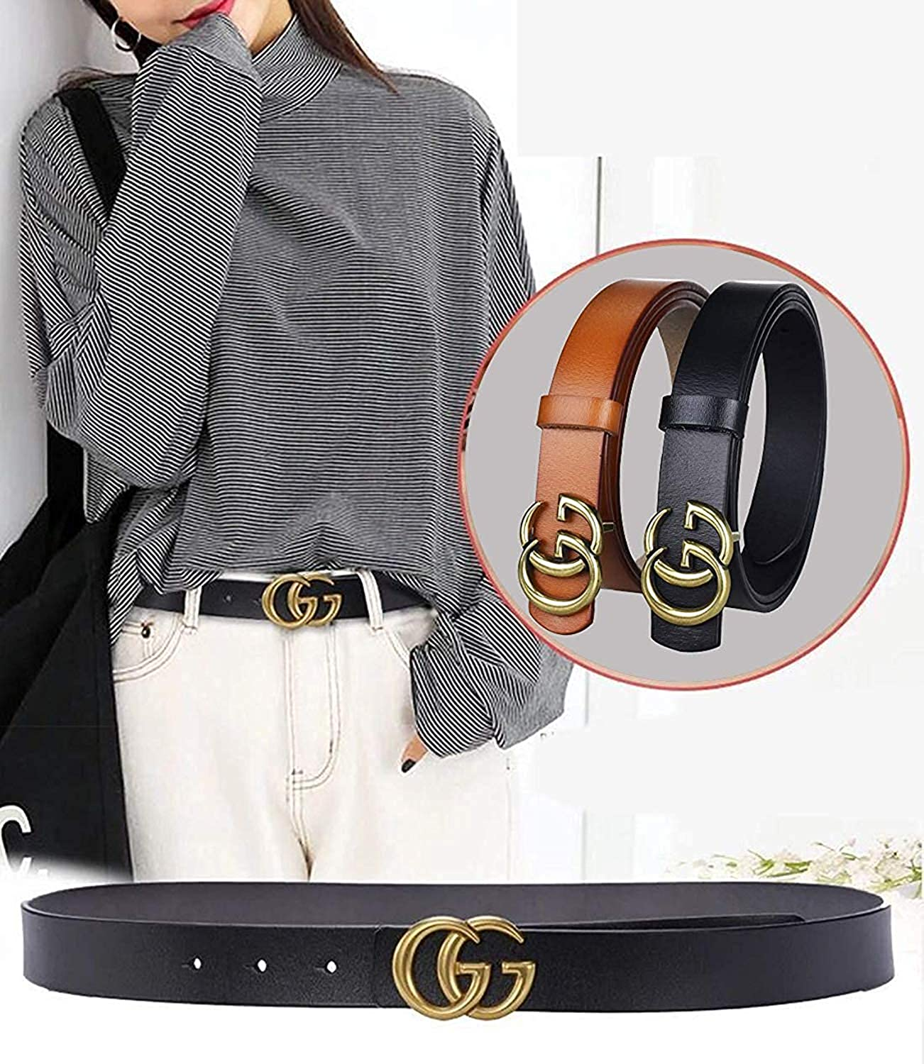 43d5e2e7553 Fashion G-Style Gold Buckle Unisex Cowhide Leather Belt Vintage Thin Dress  Belts For Jeans larger image