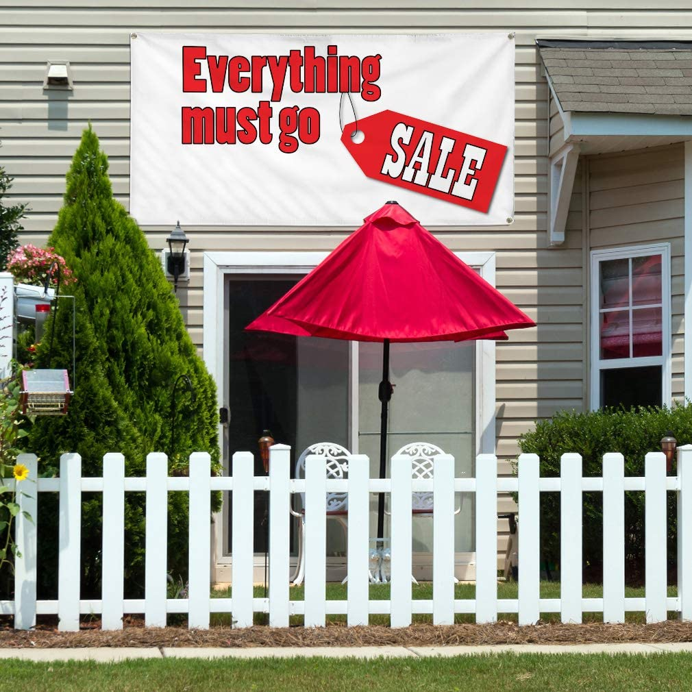 Multiple Sizes Available 48inx96in One Banner 8 Grommets Vinyl Banner Sign Everything Must Go Sale #1 Style A Marketing Advertising White