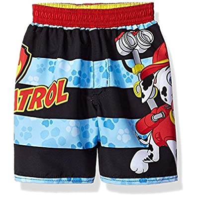 Paw Patrol Little Boys' Toddler Swim Trunks, Stripe 3T