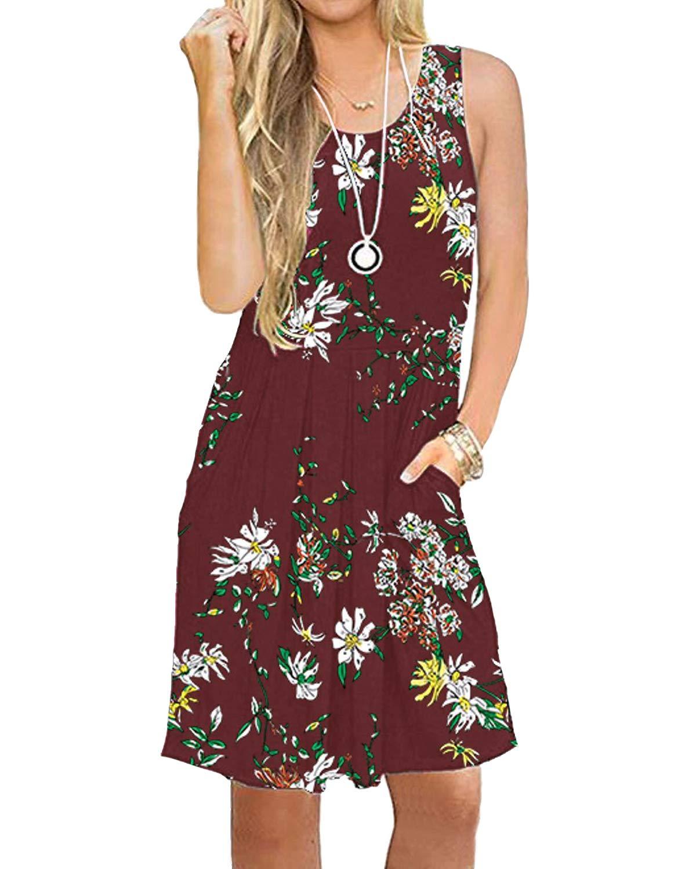 deesdail Red Floral Dresses for Women, Ladies Summer Sleeveless Knee Length Dress High Waist Vintage Casual Midi Tanks Dresses Flower L