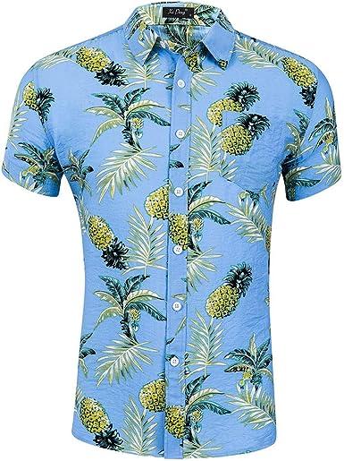 Camisa Manga Corta para Hombre de Hawaiian Beach, Piña, Camisa Clásica, Estampado, Corte Regular.: Amazon.es: Ropa y accesorios