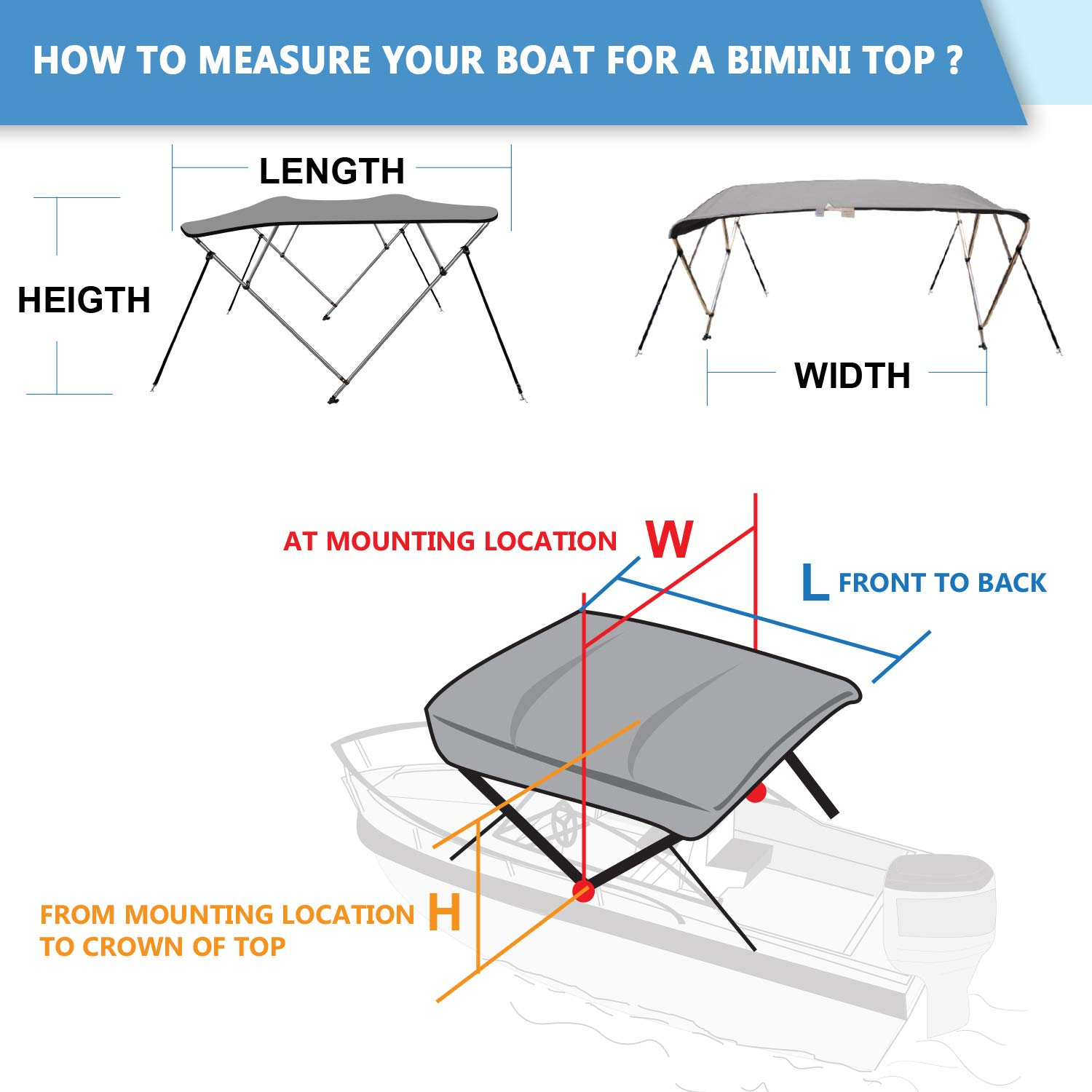 XGEAR 3-4 Bow Bimini Top Boat Cover with 4 Straps Full Size in Color Grey Pacific Beige Black Mounting Hardwares and Storage Boot Navy White Green