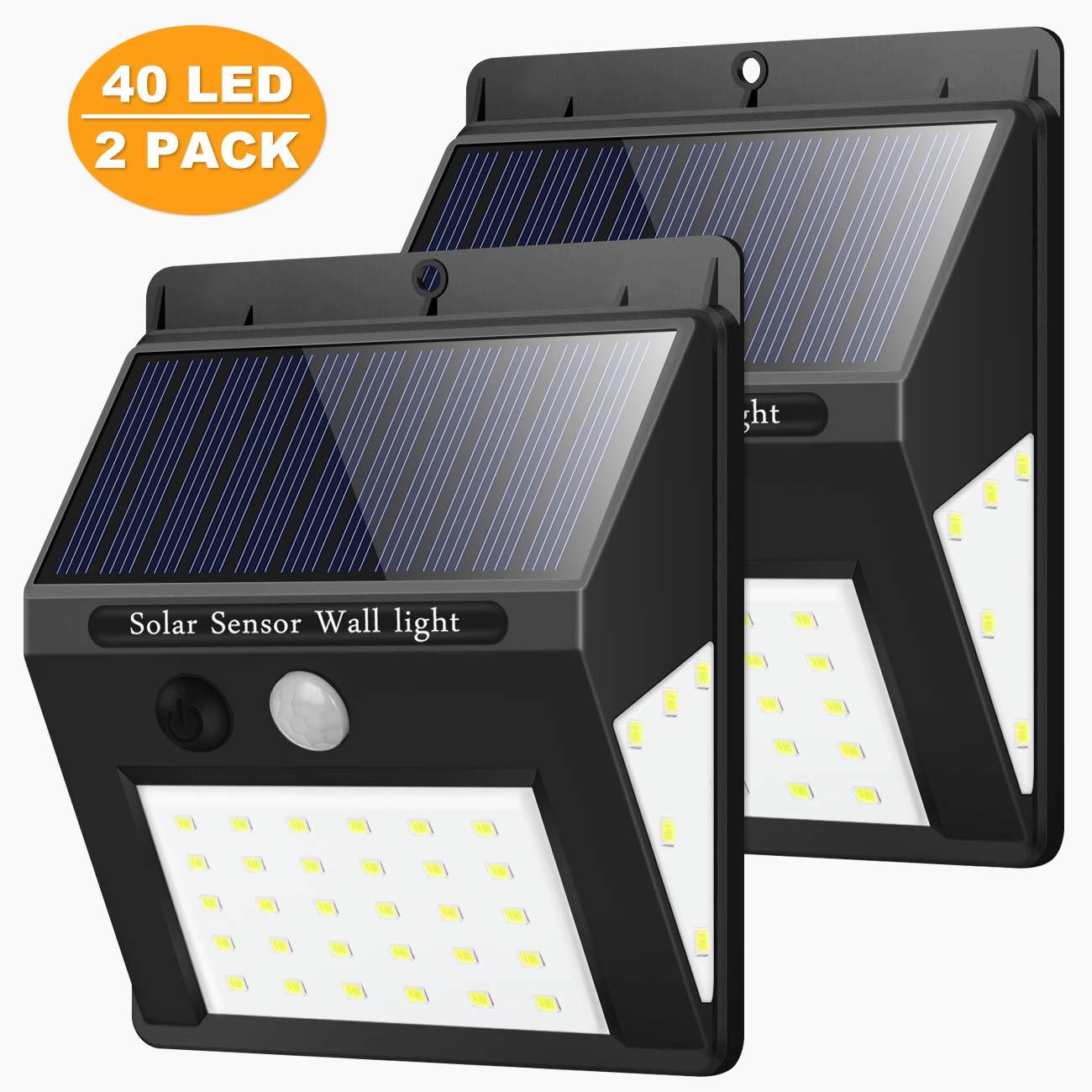 Solarleuchte für Außen, [2 Stück] Nasharia 40 LED Solarlampen mit Bewegungsmelder IP65 Wasserdichte Solar Beleuchtung 270° Superhelle Solarlicht mit 3 Modi Wandleuchte Solarleuchten für Garten, Patio