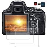 PCTC Tempered Glass protector Compatible for Nikon D3500 D3400 D3100 D3200 D3300 DSLR Camera cover (3 Packs)