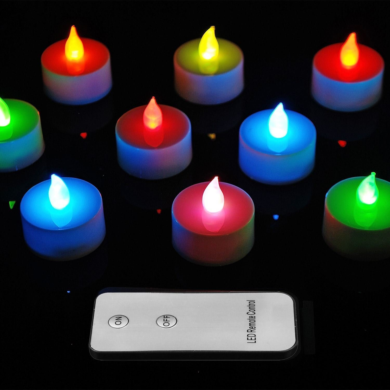 Sentik Colour Changing 10 Led Remote Control Flickering Candles Flameless Tea Lights Battery Operated Look Like Real Flicker Candles Wedding
