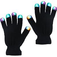 TURATA LED Handschuhe mit 3 Farben blinkende Einstellungen 6 Modi cooles Spielzeug Kostüm Geschenk für die Party Halloween Weihnachten, schwarz