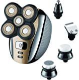Electric Razor Shaver for Men Bald Head Grooming Kit 5 in 1 Wet Dry Rotary Shavers Nose Hair Beard Trimmer Clippers Facial Cleansing Brush Cordless Waterproof USB Charging Rechargeable