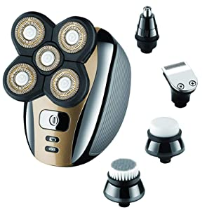 Electric Razor for Men Head Shaver for Bald Men Grooming Kit 5 in 1 Wet Dry Rotary Shavers Nose Hair Beard Trimmer Clippers Facial Cleansing Brush Cordless Waterproof USB Charging Rechargeable