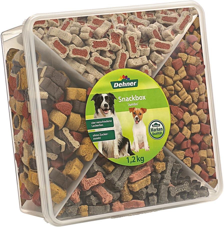 Dehner Snackbox Jumbo - Caja de Aperitivos para Perro, 4 Tipos de Mezcla, 1,2 kg