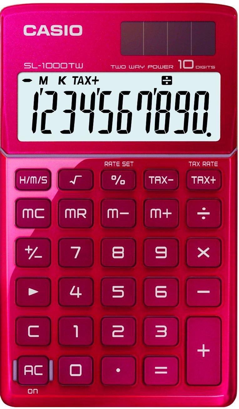 CASIO SL-1000TW-RD calcolatrice tascabile - Display a 10 cifre, struttura in metallo di colore rosso