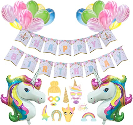 Lovely Unicorn Happy Birthday Foil Balloons Banner Decoration Photo Prop