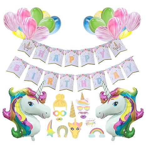 Amztm Unicorno Buon Compleanno Articoli Per Feste 1 Happy
