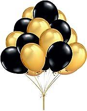 "Fecedy 12"" 100pcs Gold Black Round Balloons"