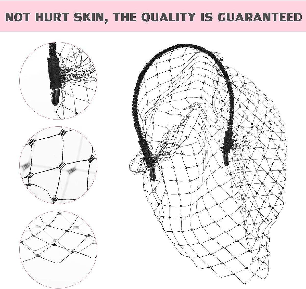 Girls Headband with Black Veil Hair Hoop Headband Simple Elegant Mesh Headdress for Woman Girl (Black)
