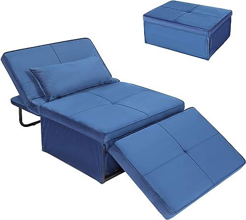 Convertible Chair Sleeper Bed,Sofa Chair Bed Sleeper,Folding Ottoman Sleeper Guest Bed,4
