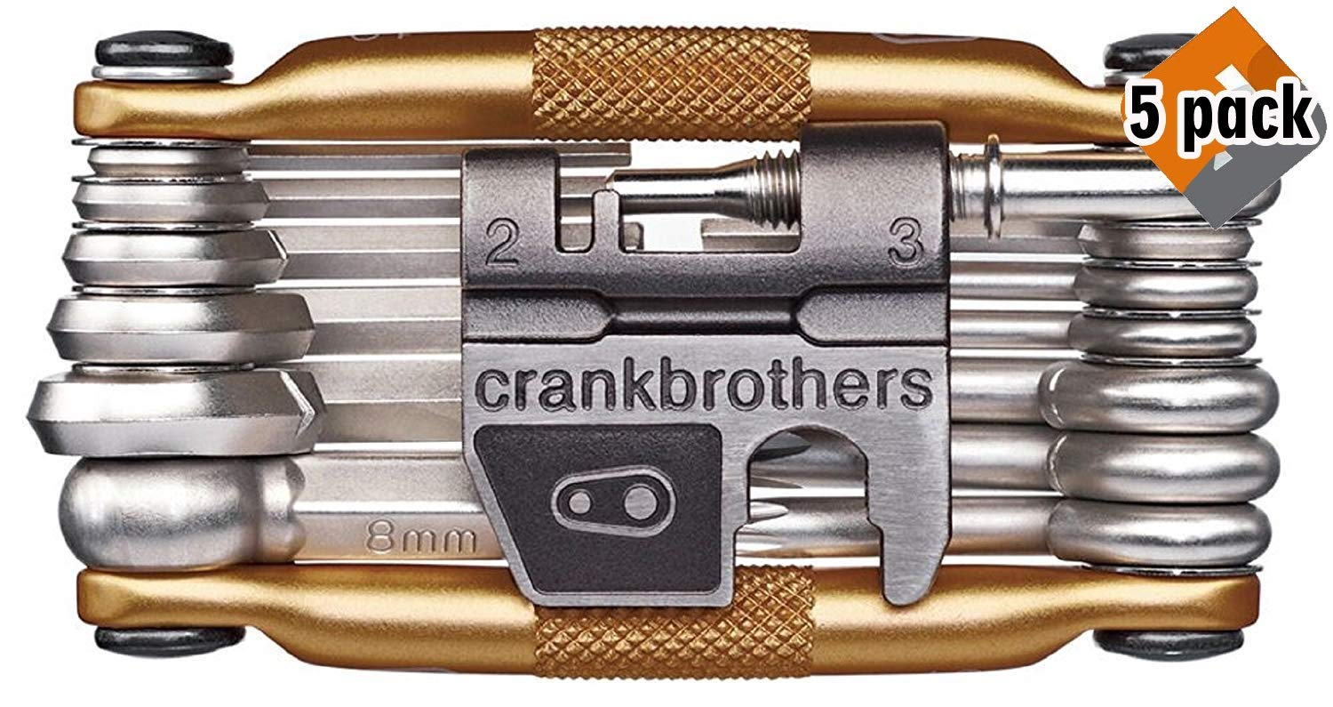 CRANKBROTHERs N2 M19 Bicycle Multi-Tool - Steel Bike Tool, Torx, Hex and Chain Tool Compatible, 5 Pack