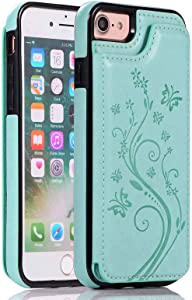 iPhone SE 2020 Case iPhone 8 Wallet Case with Card Holder,Aprilday iPhone 7 Case Wallet Premium PU Leather Cover [Butterfly Series] with Kickstand Card Slots Flip Durable Shockproof Cover -Green