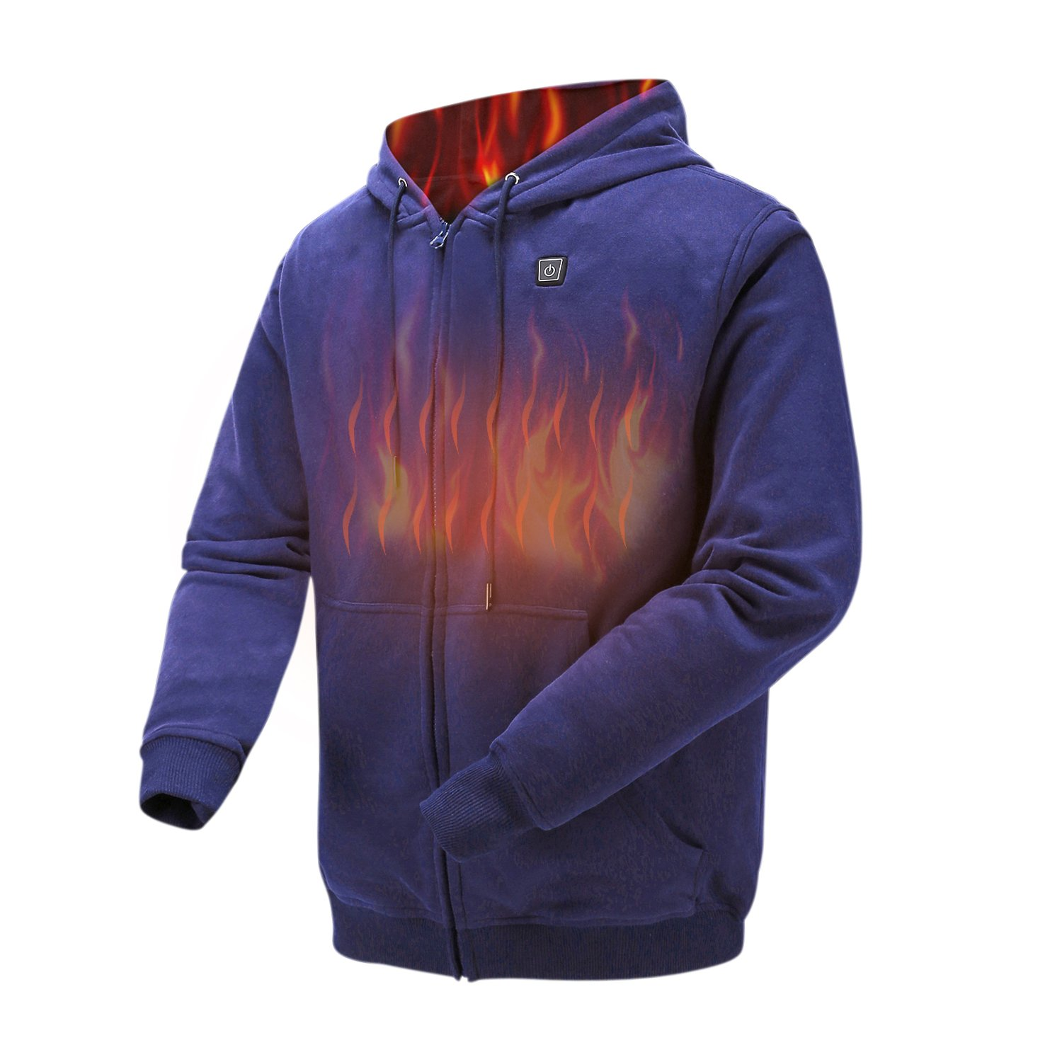 Colcham Heated Hoodie,Outdoor Work Heated Jacket Kit With 7.4 V Battery and Charger (Navy-M)