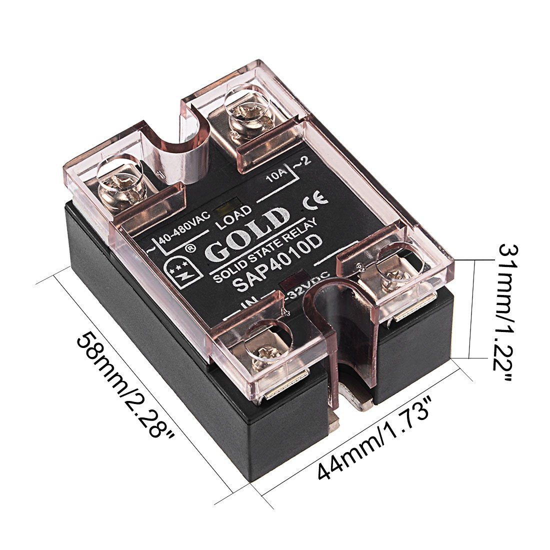 Uxcell Sap4005d Dc 3 32v To Ac 40 480v 5a Single Phase Solid State Relay Leakage Module Home Improvement