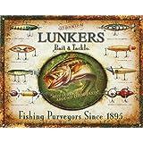 ◎ブリキ看板 プレート【LUNKERS Bait & Tackle】(Fishing Purveyors Since 1895) ティンパネル