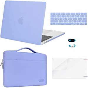 MOSISO Compatible with MacBook Pro 13 inch Case 2019 2018 2017 2016 Release A2159 A1989 A1706 A1708, Plastic Hard Shell Case&Sleeve Bag&Keyboard Skin&Webcam Cover&Screen Protector, Serenity Blue