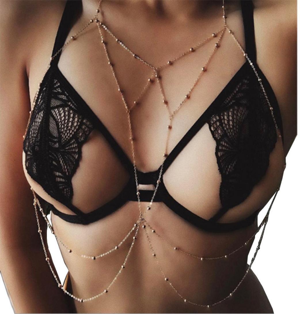 Sontefz New Design Fashion Women Sexy Body Chain Bikini Summer Beach Pendant Necklace (Silver)