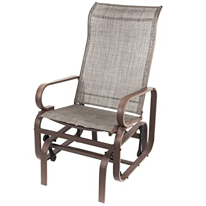 Naturefun Outdoor Patio Rocker Chair, Balcony Glider Rocking Lounge Chair,  All Weatherproof, Gray