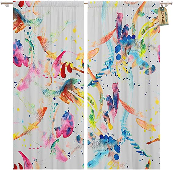 Golee Window Curtain Watercolor Abstract Stripes Dots and Brushstrokes Swimwear Boho Ethnic Home Decor Pocket Drapes 2 Panels Curtain 104 x 96 inche