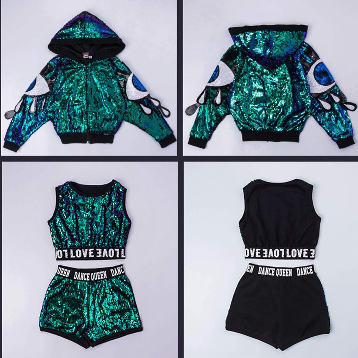 unbrand Trajes de los niños Niñas Moderno Jazz Hip-Hop Dancewear Ropa de  béisbol Lentejuelas Trajes de la Capa  Amazon.es  Deportes y aire libre e30cd611830