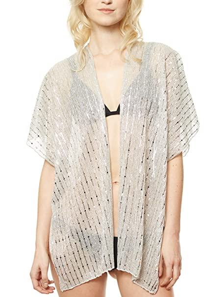 ed8e44f687 APPARELISM Women's Summer Open Front Kimono Cardigan Beach Cover Up Tops.  (CP9501-SILVER