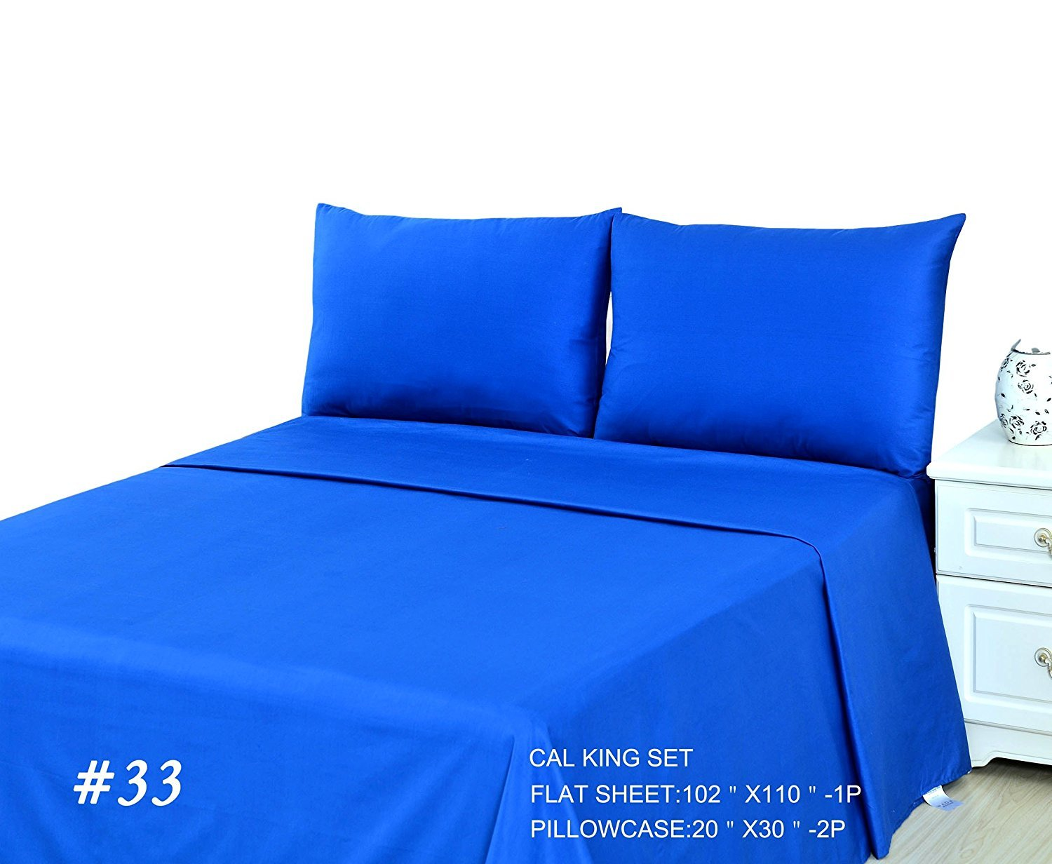 Tachce 3 Piece 100% Cotton Solid Blue Flat Bed Sheet Set, Queen