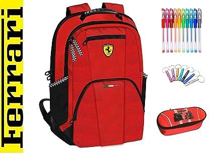 Mochila Grande Escolar Ferrari roja + Estuche con Cremallera ...