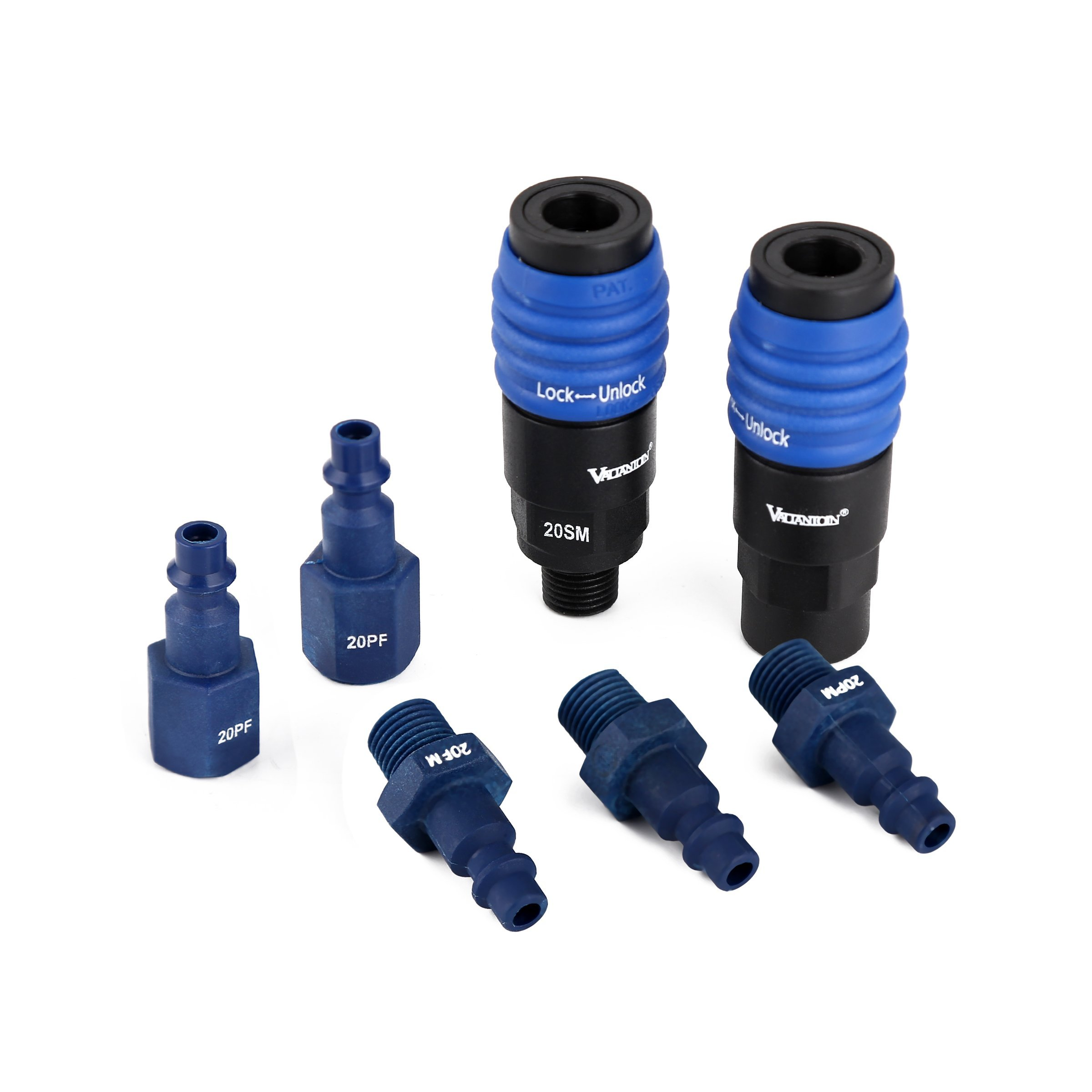 Valianto PVC-Steel 1/4''NPT Coupler & 1/4''NPT Plug Kit (7 Piece) - Aro/Miltion/Ture-flate 3-in-1 Air Coupler with Rotary Safety Lock, Quick Connect Air Fittings Quick Connect Set, Blue