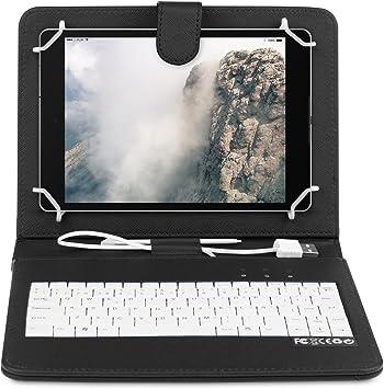Home- Funda Tablet con Teclado para BQ Aquaris M10 10.1 Pulgadas con OTG y MicroUsb-Negro