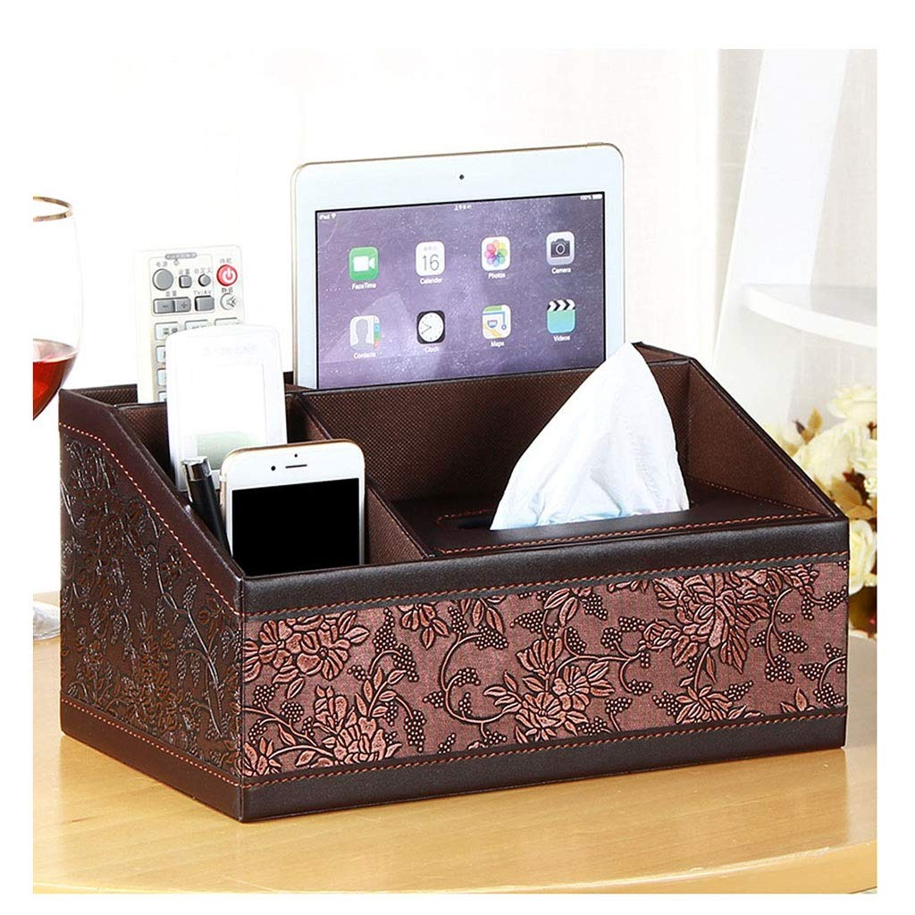 WDINN sports Multi-Function PU Leather Tissue Box Holder Desk Storage Box for Home and Office Use (Color : J)