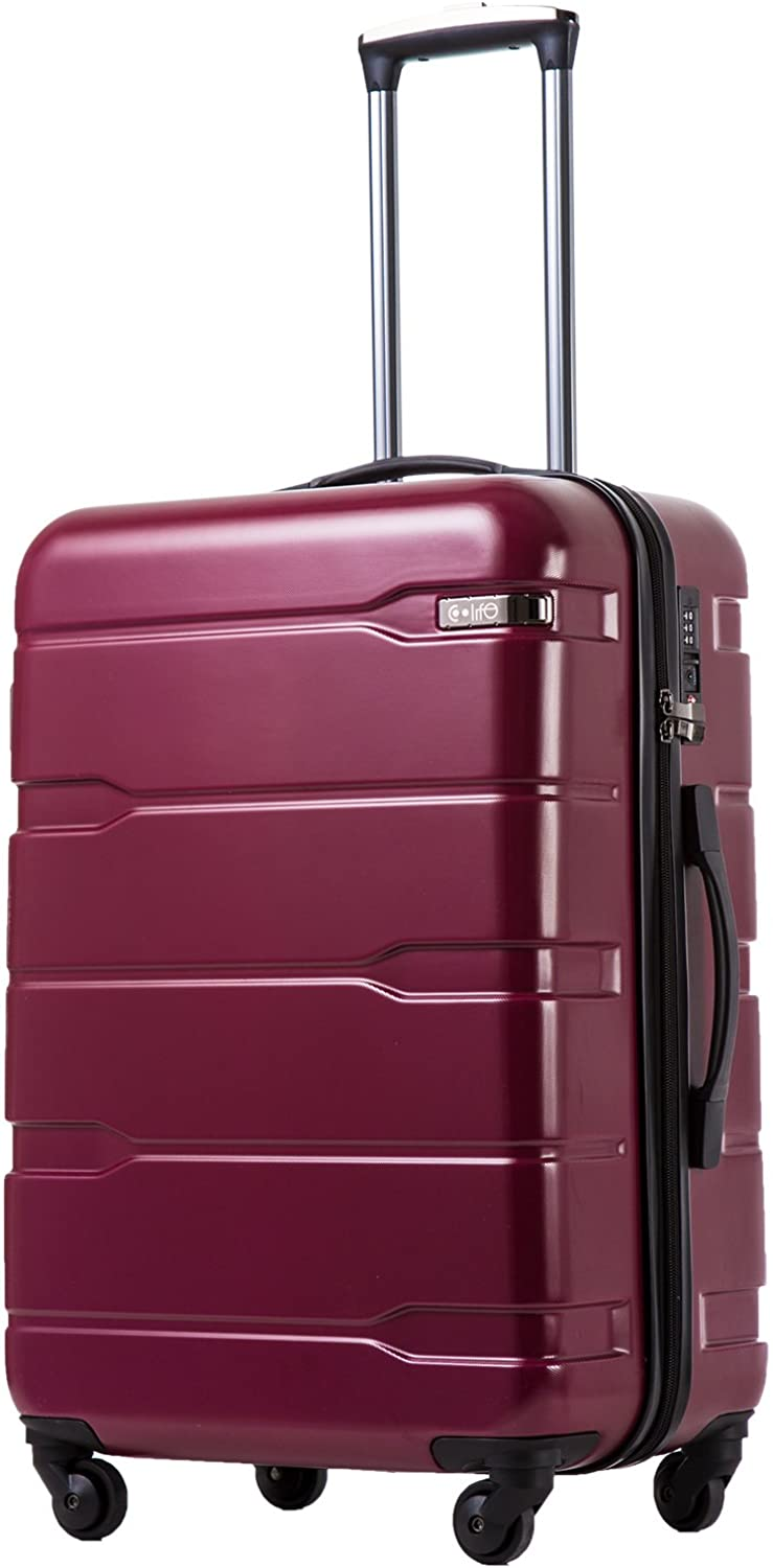 Coolife Luggage Expandable only 28 Suitcase PC ABS Spinner Built-In TSA lock 20in 24in 28in Carry on