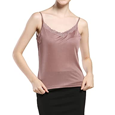 3dc71ac3f2ac9 Paradise Silk Pure Silk Knit Womens Lacy V Neck Camisole Tank Top at ...
